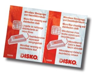 DISKO cleaning- and disinfection cloths.
