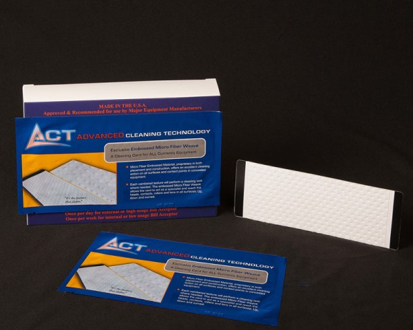 Act embossed Bill Validator Magnetically Encoded, non-woven, flock-coated Alcohol Free cleaning card.